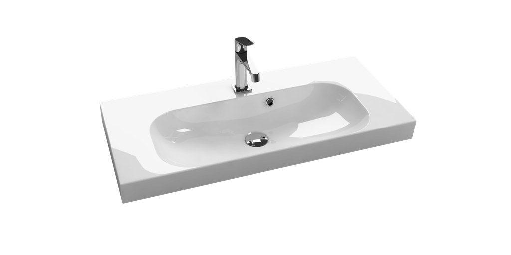 scanbad multo waschtisch mit unterschrank wei hochglanz 60 90cm bad elegant. Black Bedroom Furniture Sets. Home Design Ideas