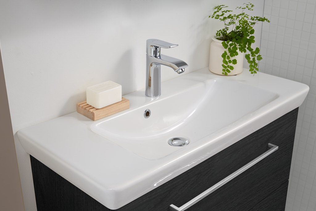 Badmöbel waschtisch  Badmöbel-Set - Waschtisch mit LED-Spiegelschrank (Scanbad) - Bad ...