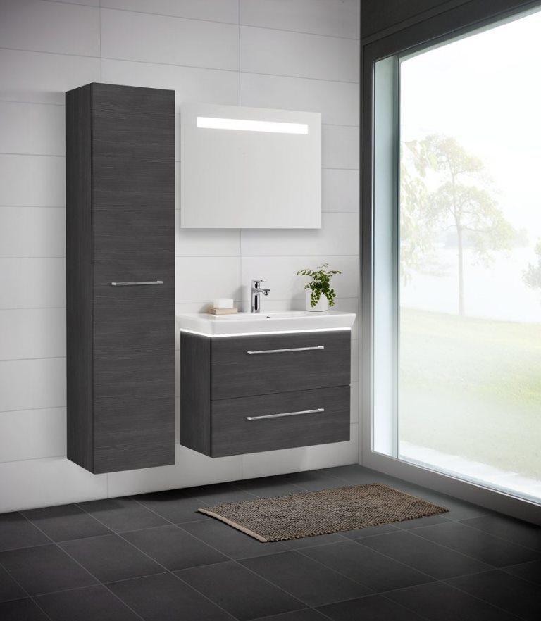 scanbad multo badm bel set mit led spiegel pine grey bad elegant. Black Bedroom Furniture Sets. Home Design Ideas