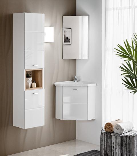 comad finka white badset g ste wc eckwaschtisch mit unterschrank 40cm eckmontage bad elegant. Black Bedroom Furniture Sets. Home Design Ideas