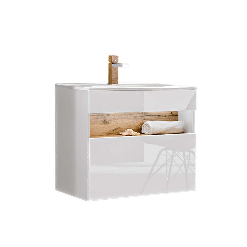 Blickfang Bad Unterschrank Weiß Ideen Von Comad Bahama Badmöbel Waschtisch Mit Weiß-hochglanz 80cm