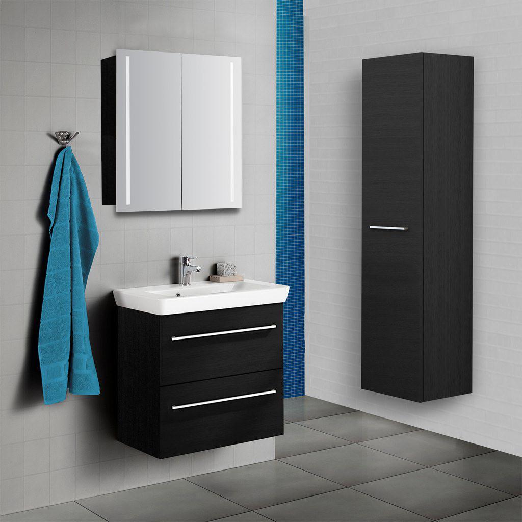 Badm bel set waschtisch mit led spiegelschrank scanbad for Badmoebel set mit spiegelschrank