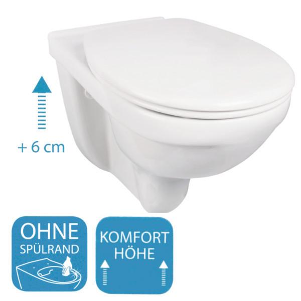 Gut gemocht Wand-WC extra hoch und ohne Spülrand SKY-O (Soltar) - Bad-Elegant LO94