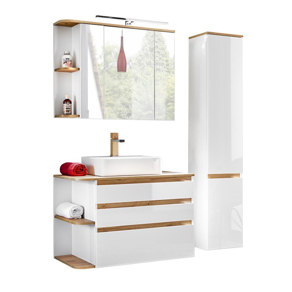 Comad Platinum Badmöbel Komplettset Weiß-Hochglanz Spiegelschrank und  Hochschrank 90cm