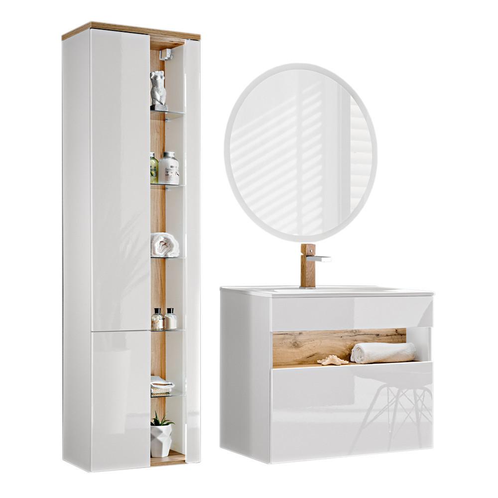 Comad Bahama Badmöbel Komplettset Weiß-Hochglanz Spiegel und Hochschrank  18cm