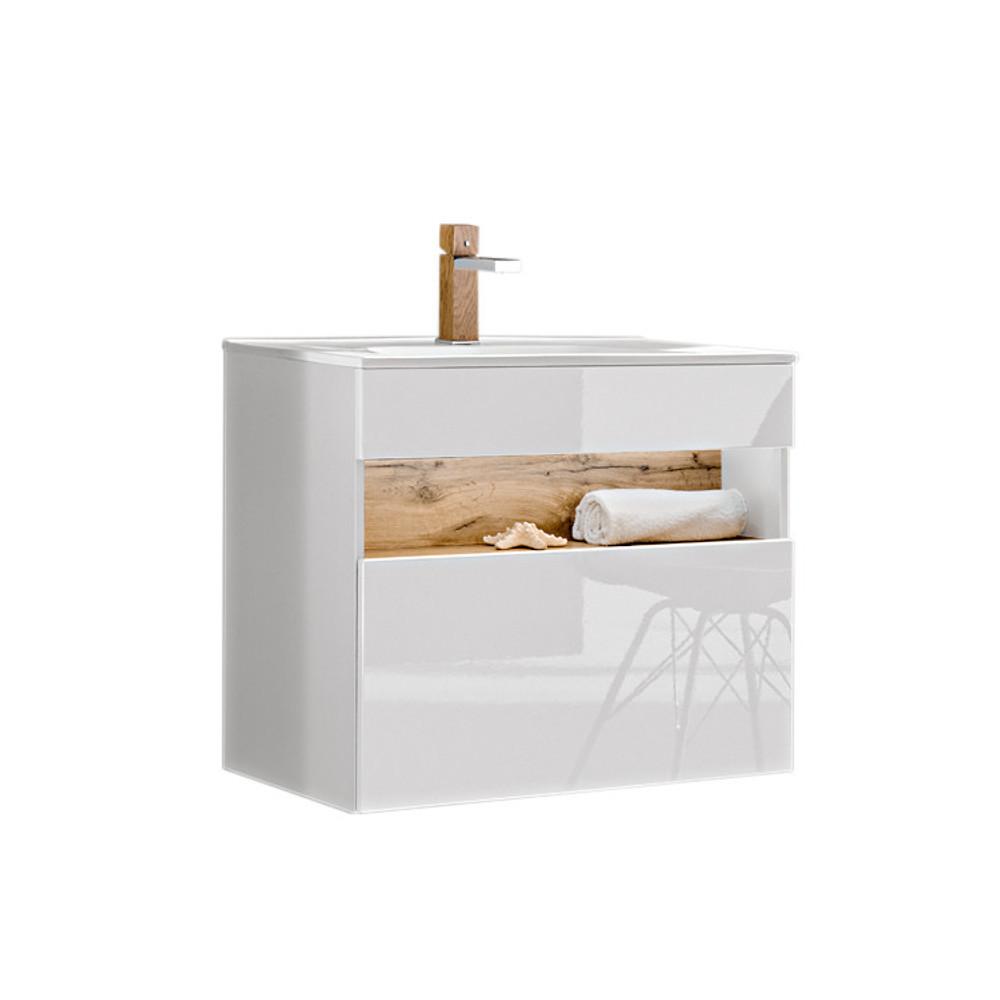 Comad Bahama Badmobel Waschtisch Mit Unterschrank Weiss Hochglanz 80cm Bad Elegant