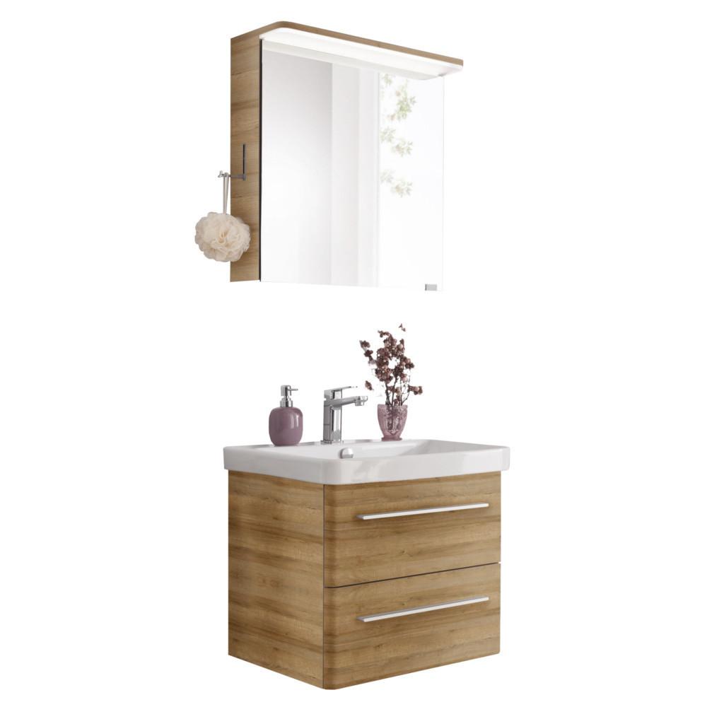 Lanzet K20 Komplettbad Waschtisch, Unterschrank und Spiegelschrank Bergeiche  20 200cm