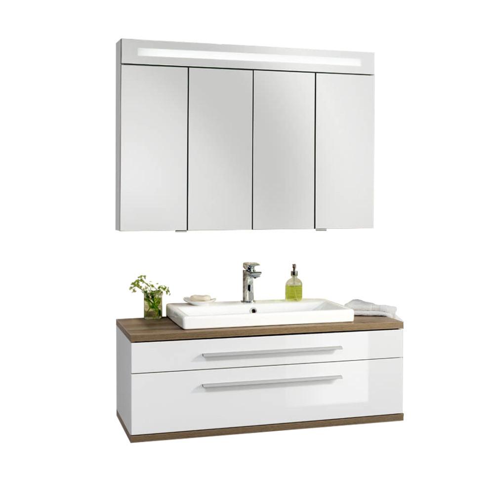 Fackelmann Stanford Badmöbel Set, Weiß Hochglanz mit Spiegelschrank 110cm