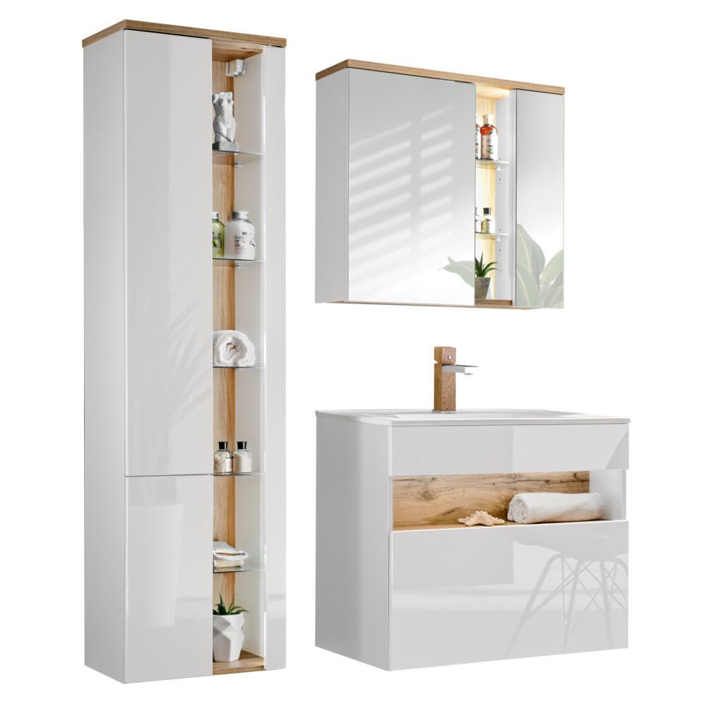 Comad Bahama Badmöbel Komplettset Weiß-Hochglanz Spiegelschrank und  Hochschrank 80cm