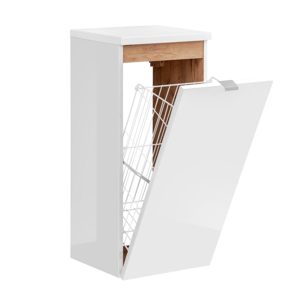 Comad Capri Midischrank mit Wäschekorb 20 x 20 x 20cm Weiß Hochglanz